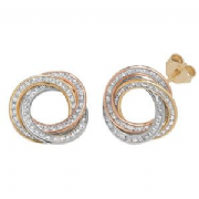 Cubic Zirconia 9ct three colour gold interlinked hoop stud earrings